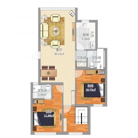 新天地西区2室1厅3卫1厨91.00㎡户型图