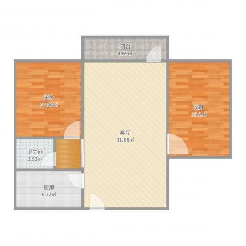 新威花园2室1厅1卫1厨95.00㎡户型图
