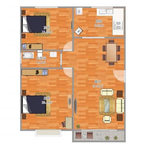大华锦绣华城第9街区2室1厅1卫1厨103.00㎡户型图