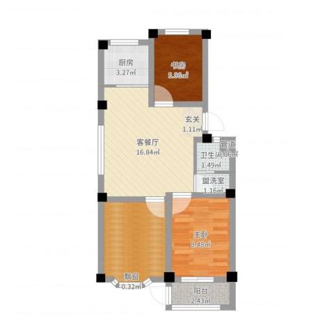 西涝台御鑫园2室4厅1卫1厨61.00㎡户型图