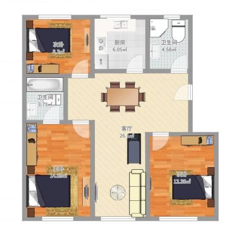 果园一村3室1厅2卫1厨94.00㎡户型图