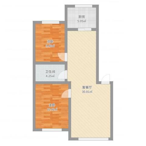 新地山湾2室2厅1卫1厨78.00㎡户型图
