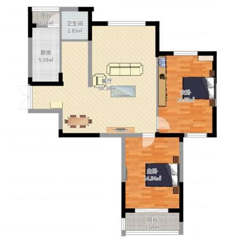 天鹅湖畔2室1厅1卫1厨103.00㎡户型图