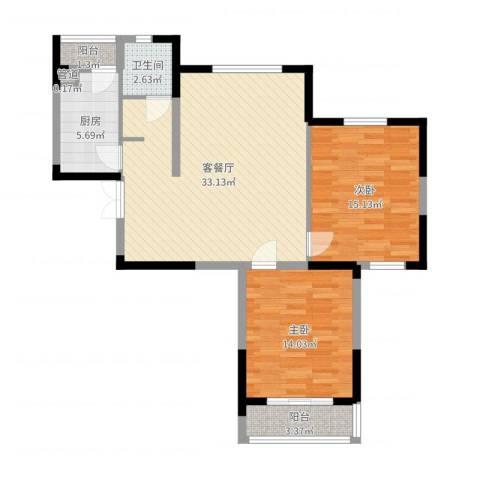 天鹅湖畔2室2厅1卫1厨94.00㎡户型图