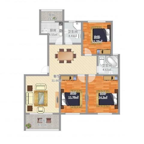 金地城3室1厅2卫1厨114.00㎡户型图