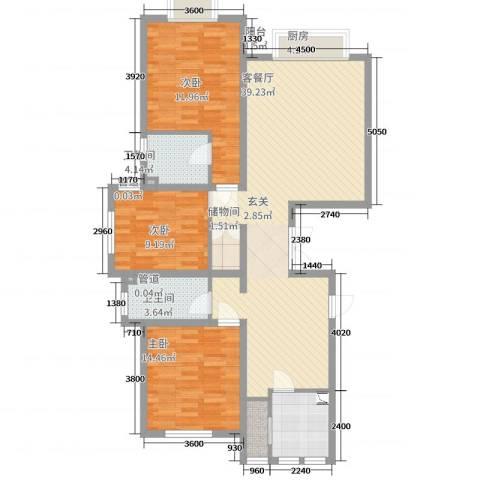 天津市武清区南湖一号3室2厅2卫1厨130.00㎡户型图