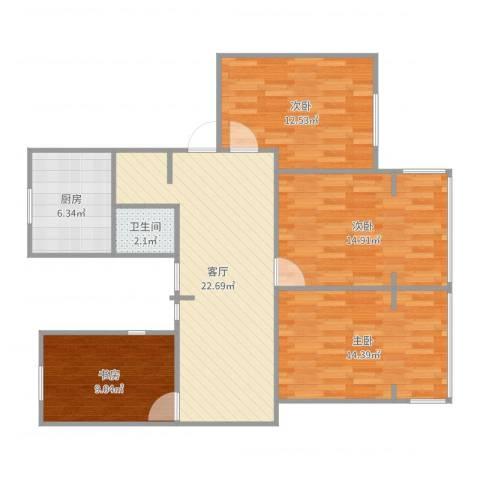 金桥湾清水苑4室1厅1卫1厨103.00㎡户型图