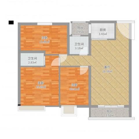 华南碧桂园别墅3室1厅2卫1厨100.00㎡户型图