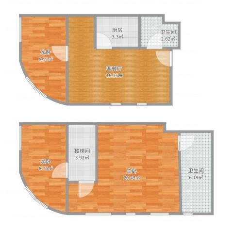 TOUCH悦城3室2厅2卫1厨88.00㎡户型图