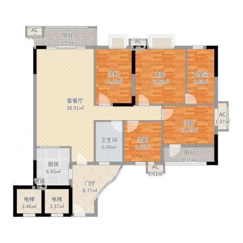 石竹山水园四期4室2厅2卫1厨169.00㎡户型图