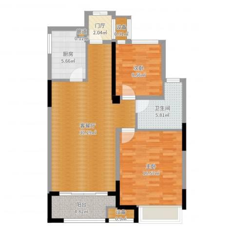 金科天籁城2室2厅1卫1厨95.00㎡户型图