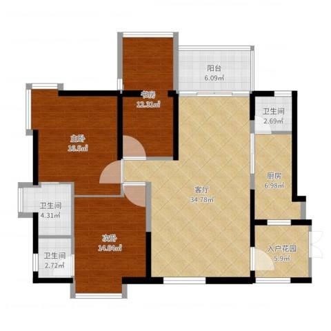 大唐盛世3室1厅3卫1厨133.00㎡户型图