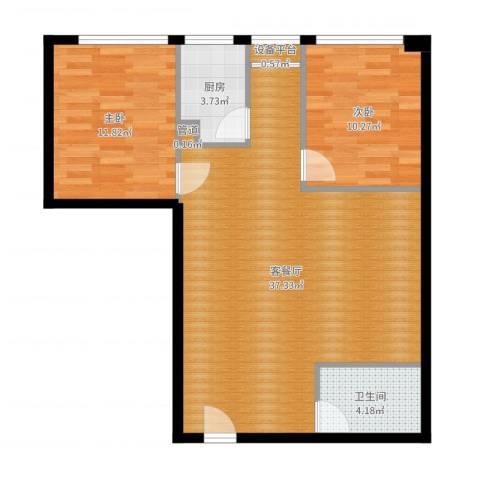 印象新城2室2厅1卫1厨85.00㎡户型图
