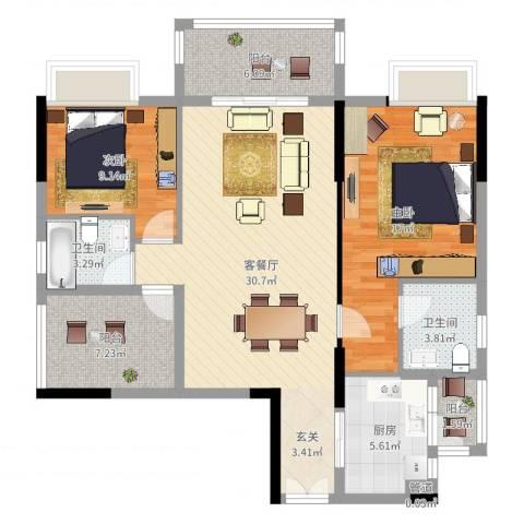 水岸珑庭2室2厅2卫1厨106.00㎡户型图