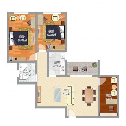 黄石花园3室1厅1卫1厨90.00㎡户型图