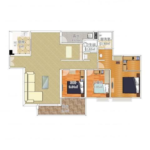 广州亚运城天誉3室3厅2卫2厨150.00㎡户型图