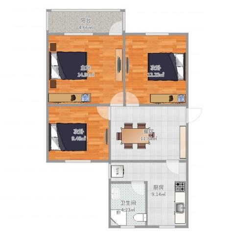 华家池校区3室1厅1卫1厨83.00㎡户型图