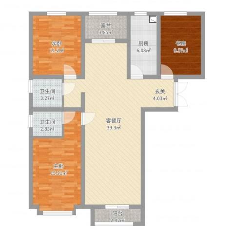 渤海豪庭3室2厅2卫1厨117.00㎡户型图
