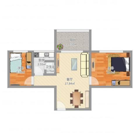 广信金兰花园2室1厅1卫1厨55.00㎡户型图