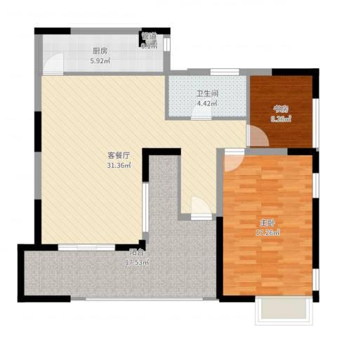 丰润花园2室2厅1卫1厨104.00㎡户型图