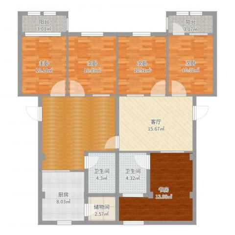 万兴凤凰花园5室1厅3卫1厨145.00㎡户型图