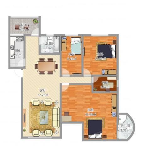 荔园新村4室1厅2卫1厨131.00㎡户型图