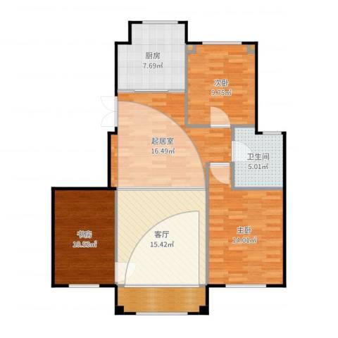 三鼎春天3室1厅1卫1厨104.00㎡户型图