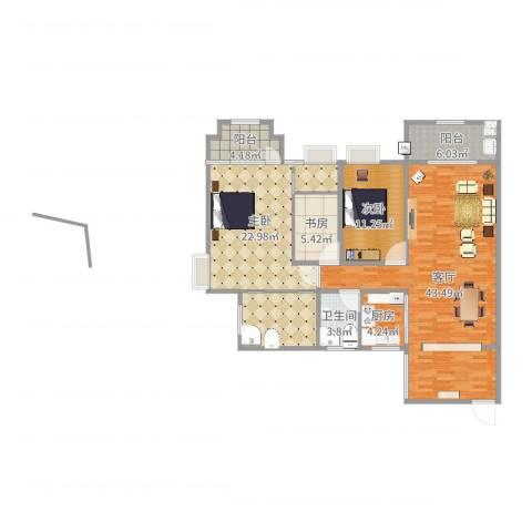 三亚同心家园3室1厅1卫1厨136.00㎡户型图