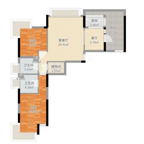 金河国际华庭2室3厅2卫1厨99.00㎡户型图