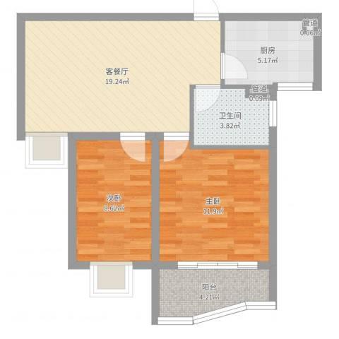 富康新村2室2厅1卫1厨66.00㎡户型图