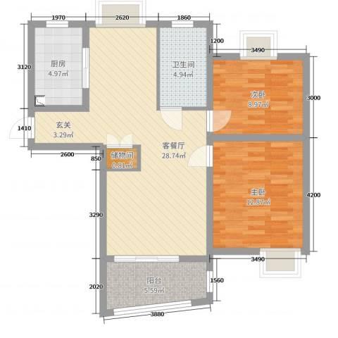 广洋华景苑2室2厅1卫1厨102.00㎡户型图