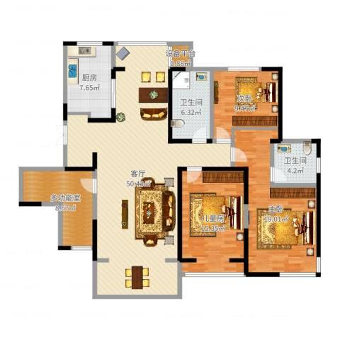 滨河花园3室1厅2卫1厨121.97㎡户型图