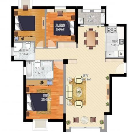 住宅莲花尚城2室1厅3卫1厨118.00㎡户型图
