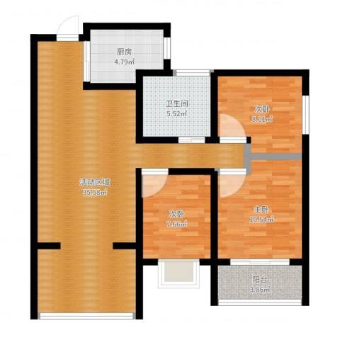 万象春天3室1厅1卫1厨98.00㎡户型图