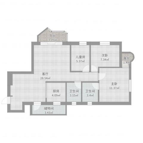华丽花园3室1厅2卫1厨93.00㎡户型图