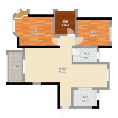 路通沁园3室2厅1卫1厨94.00㎡户型图