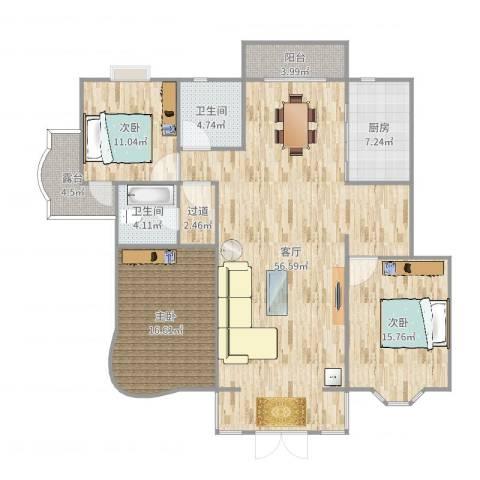 海上明珠3室1厅2卫1厨159.00㎡户型图