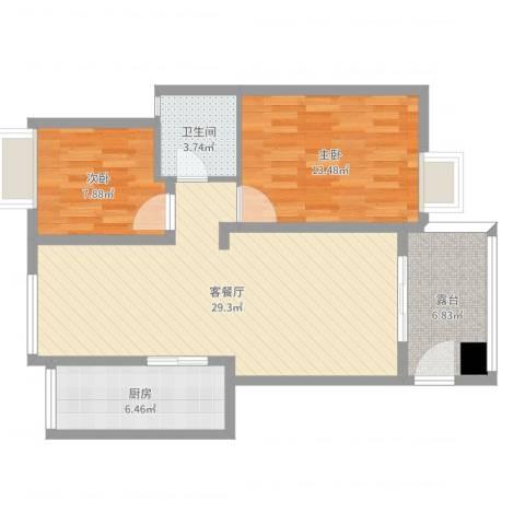 名雅花园2室2厅1卫1厨85.00㎡户型图