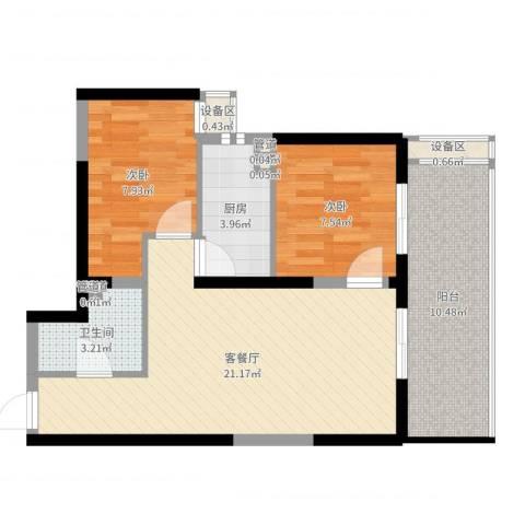 翡翠明珠2室2厅1卫1厨69.00㎡户型图