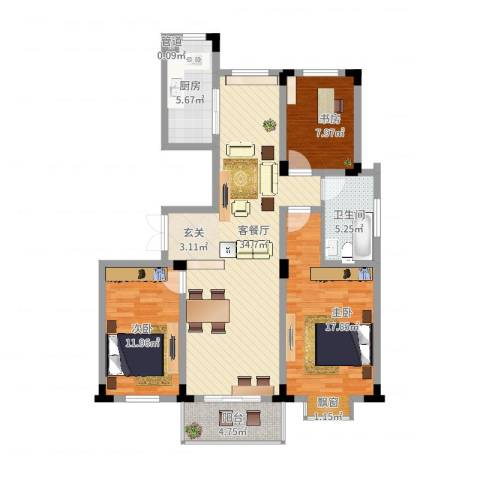四季新城北苑3室2厅1卫1厨126.00㎡户型图