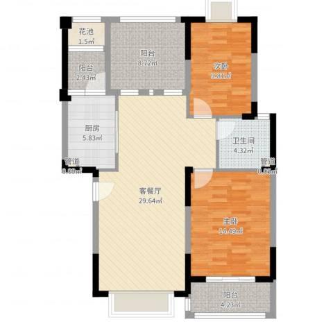 万达西双版纳国际度假区2室2厅4卫1厨101.00㎡户型图