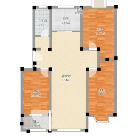 舜华园3室2厅1卫1厨109.00㎡户型图