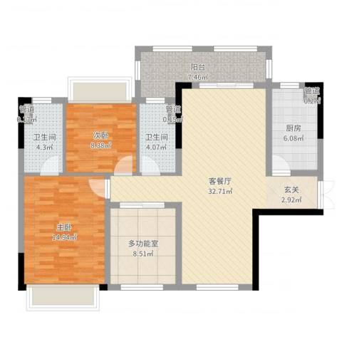 华发・蔚蓝堡2室2厅2卫1厨109.00㎡户型图