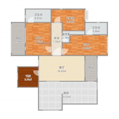 阳光海岸4室3厅2卫1厨190.00㎡户型图