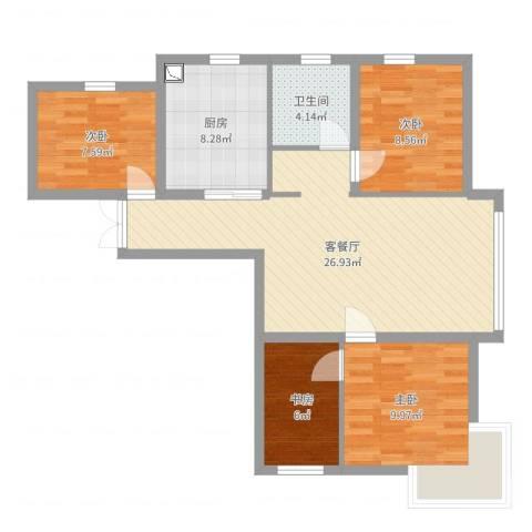 新希望乐城4室2厅1卫1厨89.00㎡户型图