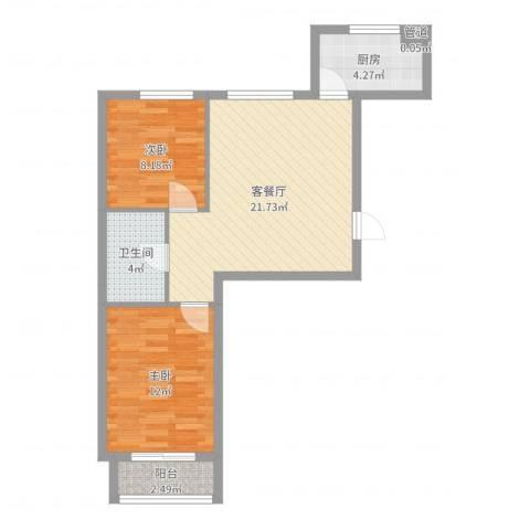 聚鑫小区三期2室2厅2卫1厨66.00㎡户型图