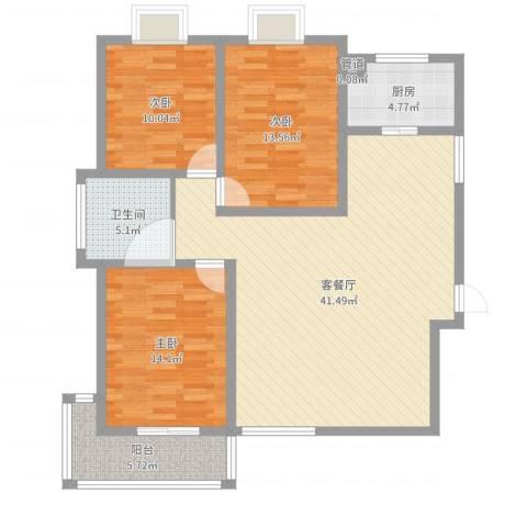泰和怡苑3室2厅2卫1厨119.00㎡户型图