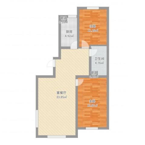 万达嘉园2室2厅1卫1厨89.00㎡户型图