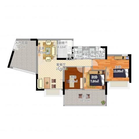 华发世纪城二期3室2厅2卫1厨121.00㎡户型图