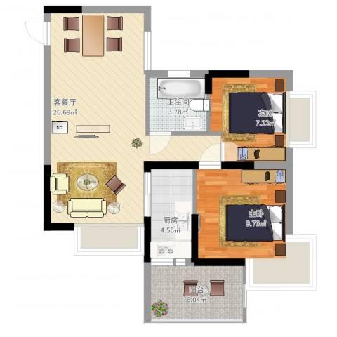 紫金阁2室2厅1卫1厨83.00㎡户型图